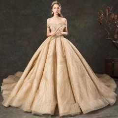 Luxury / Gorgeous Gold Wedding Dresses 2019 Ball Gown Off-The-Shoulder Short Sleeve Backless Beading Glitter Tulle Cathedral Train Ruffle