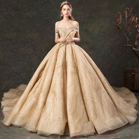 Luxury Gorgeous Gold Wedding Dresses 2019 Ball Gown Off The Shoulder Short Sleeve Backless Beading Glitter Tulle Cathedral Train Ruffle
