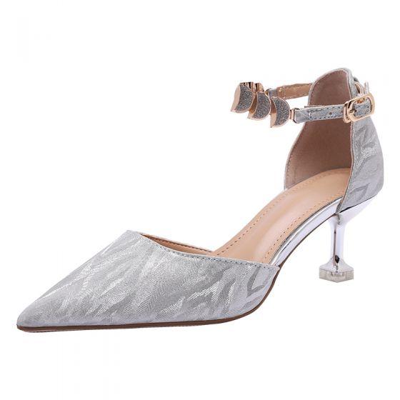 Charmerende Sølv Brudesko 2020 Pailletter Ankel Strop 6 cm Stiletter Spidse Tå Bryllup Sandaler