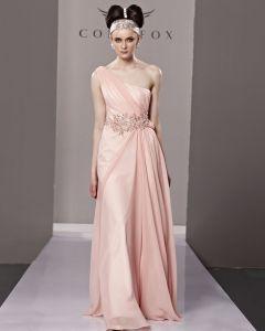 One Shoulder Strapless Beading Flower Sleeveless Backless Floor Length Tencel Woman Evening Dresses