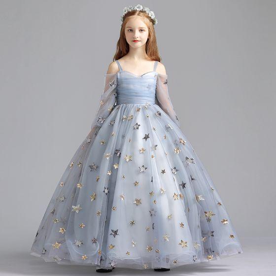 Elegantes Gris Vestidos para niñas 2019 A-Line / Princess Fuera Del Hombro Mangas de campana Lentejuelas Estrella Largos Ruffle Sin Espalda Vestidos para bodas