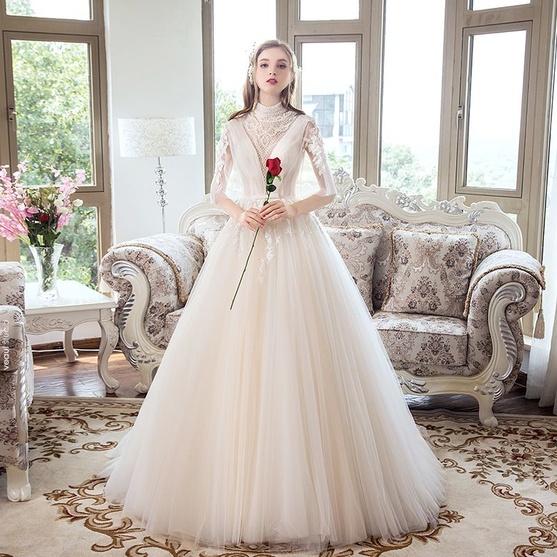 Luxury / Gorgeous Champagne Wedding Dresses 2018 A-Line / Princess See-through Beading Crystal Rhinestone Lace Flower Bow Scoop Neck Backless 1/2 Sleeves Sweep Train Wedding