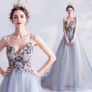 Charming Sky Blue Prom Dresses 2020 A-Line / Princess Spaghetti Straps Beading Pearl Rhinestone Lace Flower Sleeveless Backless Sweep Train Formal Dresses