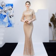 Sparkly Solid Color Champagne Evening Dresses  2019 Trumpet / Mermaid Scoop Neck Sequins Sash 3/4 Sleeve Floor-Length / Long Formal Dresses