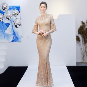 Sparkly Solid Color Champagne Evening Dresses  2019 Trumpet / Mermaid Scoop Neck Sequins Sash 3/4 Sleeve Floor-Length / Long Formal Dresses
