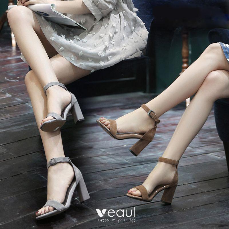 magasin d'usine e886e 619de Moderne / Mode Chaussures Femmes 2017 Daim Talons Épais 8 cm ...