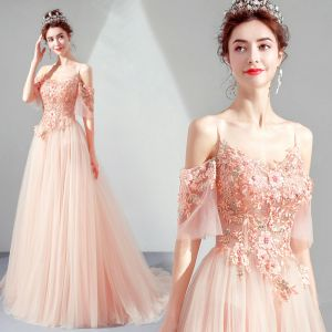 Elegant Pearl Pink Evening Dresses  2019 A-Line / Princess Spaghetti Straps 1/2 Sleeves Appliques Lace Pearl Rhinestone Sweep Train Ruffle Backless Formal Dresses