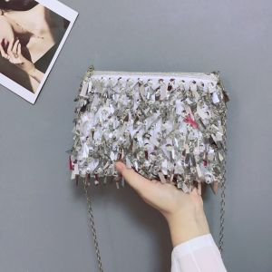 Bling Bling Silver Rhinestone Sequins Clutch Bags 2018