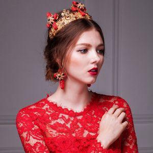 Kerkelijk Huwelijk Tiara / Gouden Kroon / Diamanten Oorbellen Stuk Voorzien