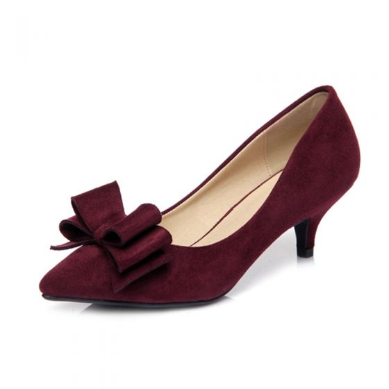 Chic / Beautiful Office Pumps 2017 PU Bow High Heels Pointed Toe High Heel