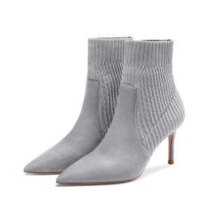 Hermoso Gris Ropa de calle de tejer Botas de mujer 2020 8 cm Stilettos / Tacones De Aguja Punta Estrecha Botas