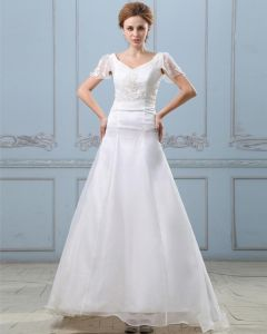 Applique Short Sleeve V Neck Satin Organza Sheath Wedding Dress