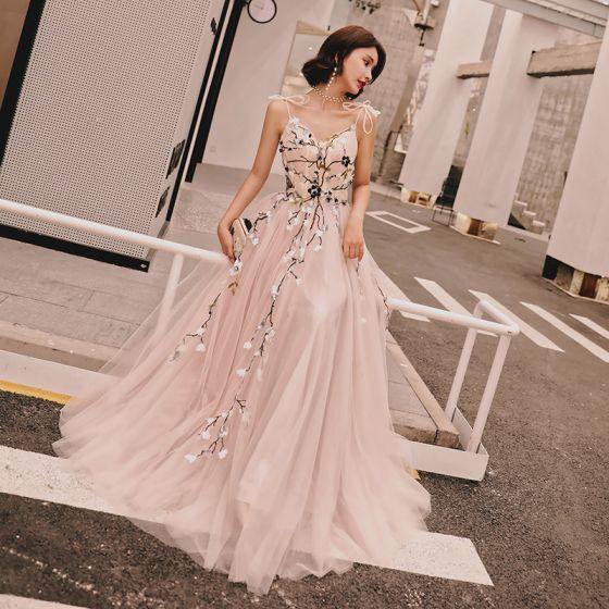 Hermoso Rosa Clara Verano Vestidos de noche 2018 A-Line / Princess Apliques Bowknot Spaghetti Straps Sin Espalda Sin Mangas Largos Vestidos Formales