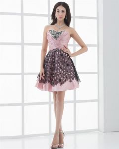 Sweetheart Ruffle Applique Sleeveless Thigh Length Lace Up Taffeta Cocktail Dress