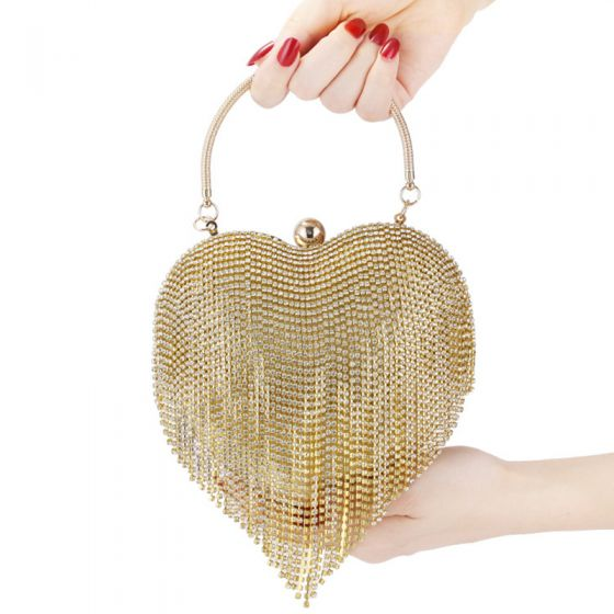 Fashion Gold Rhinestone Tassel Heart-shaped Clutch Bags 2020