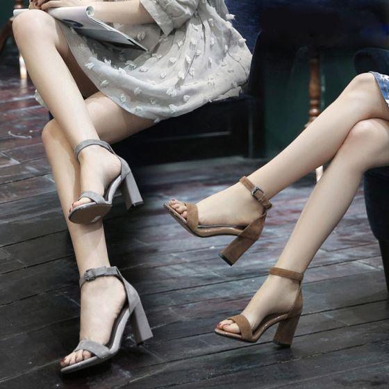 Moda Zapatos De Mujer 2017 Suede Talones Gruesos 8 cm Cuero Sandalias