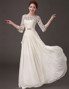 2015 Glamorous A-line Beading Crystal Accessories Floor-length Chiffon Evening Dresses