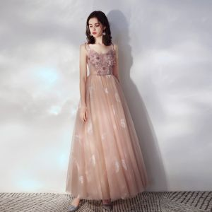 Chic / Beautiful Pearl Pink Evening Dresses  2019 A-Line / Princess Spaghetti Straps Beading Appliques Lace Flower Sequins Sleeveless Backless Floor-Length / Long Formal Dresses
