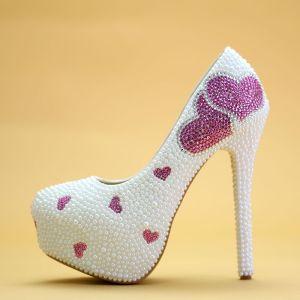 Chic / Beautiful White Wedding Shoes 2019 Rhinestone Heart-shaped Pearl 14 cm Stiletto Heels Round Toe Wedding Pumps