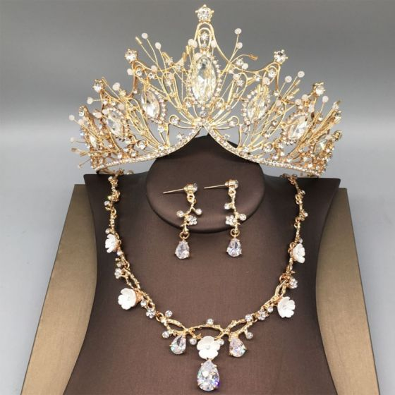 Piękne Złote Tiara Naszyjnik Kolczyki Biżuteria Ślubna 2019 Metal Frezowanie Rhinestone Ślub Akcesoria