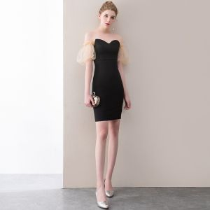 Sexy Black Party Dresses 2018 Sweetheart Backless Short Sleeve Short Formal Dresses