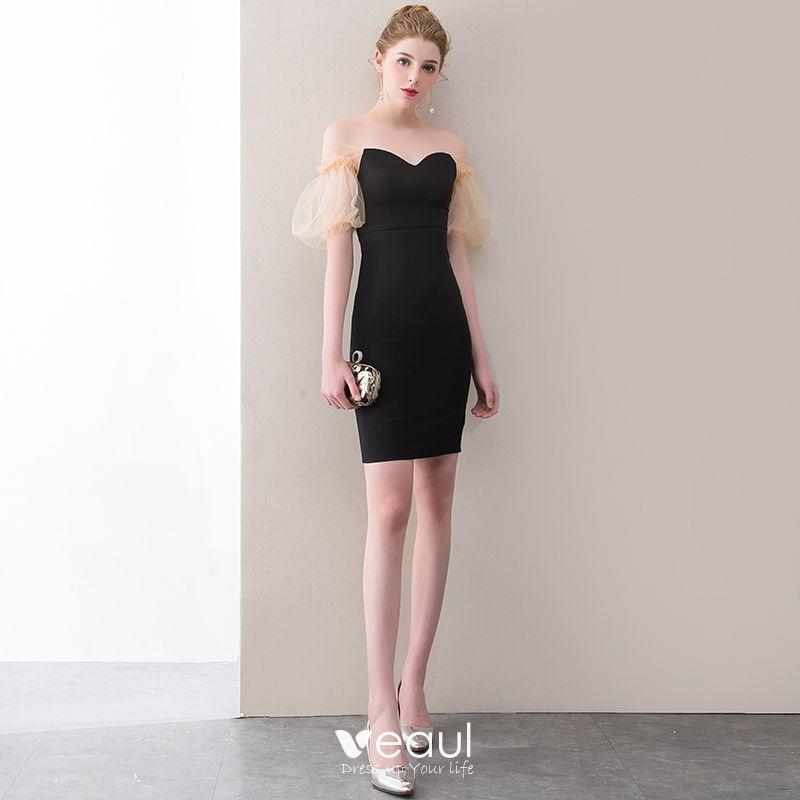 ba5b4b336bbca Sexy Black Party Dresses 2018 Sweetheart Backless Short Sleeve Short ...