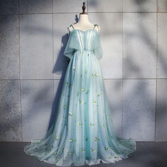 Elegante Blau Abendkleider 2018 A Linie Applikationen Schleife Spaghettiträger Rückenfreies Ärmellos Sweep / Pinsel Zug Festliche Kleider