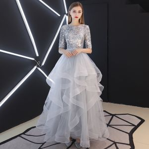 Sparkly Silver Evening Dresses  2019 A-Line / Princess Scoop Neck Sequins 1/2 Sleeves Backless Cascading Ruffles Floor-Length / Long Formal Dresses