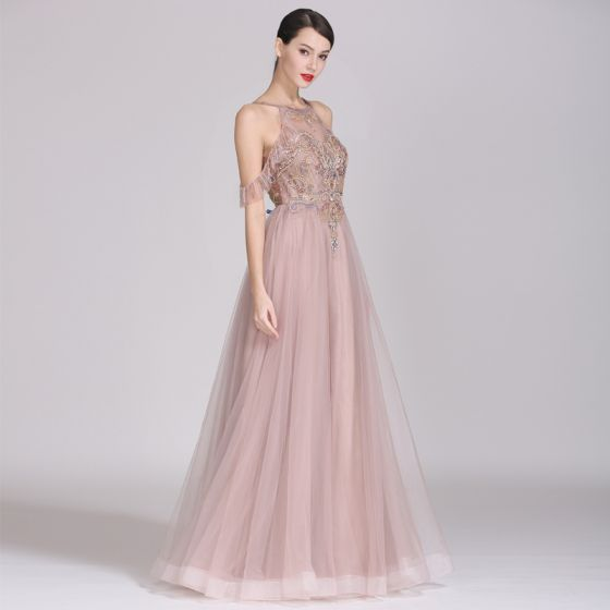 Chic / Beautiful Pearl Pink Evening Dresses  2019 A-Line / Princess Scoop Neck Beading Rhinestone Crystal Pearl Sleeveless Backless Floor-Length / Long Formal Dresses