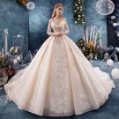 Chic / Beautiful Champagne Wedding Dresses 2019 Ball Gown 3/4 Sleeve V-Neck Backless Appliques Lace Sequins Beading Glitter Tulle Chapel Train Ruffle