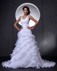 Elegant Lace Organza V-Neck Flower Beading Cathedral Train Mermaid Bridal Wedding Dress
