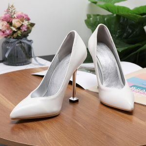 Modest / Simple Ivory Office OL Pumps 2020 9 cm Stiletto Heels Pointed Toe Pumps