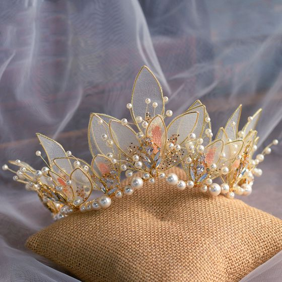 Flower Fairy Gold Butterfly Bridal Hair Accessories 2020 Alloy Pearl Rhinestone Tiara Wedding Accessories