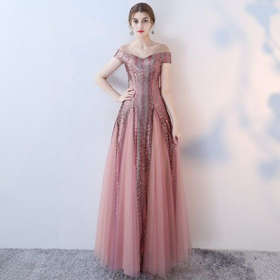 Amazing / Unique Blushing Pink Evening Dresses  2017 A-Line / Princess Pierced V-Neck Short Sleeve Beading Sequins Floor-Length / Long Ruffle Backless Formal Dresses