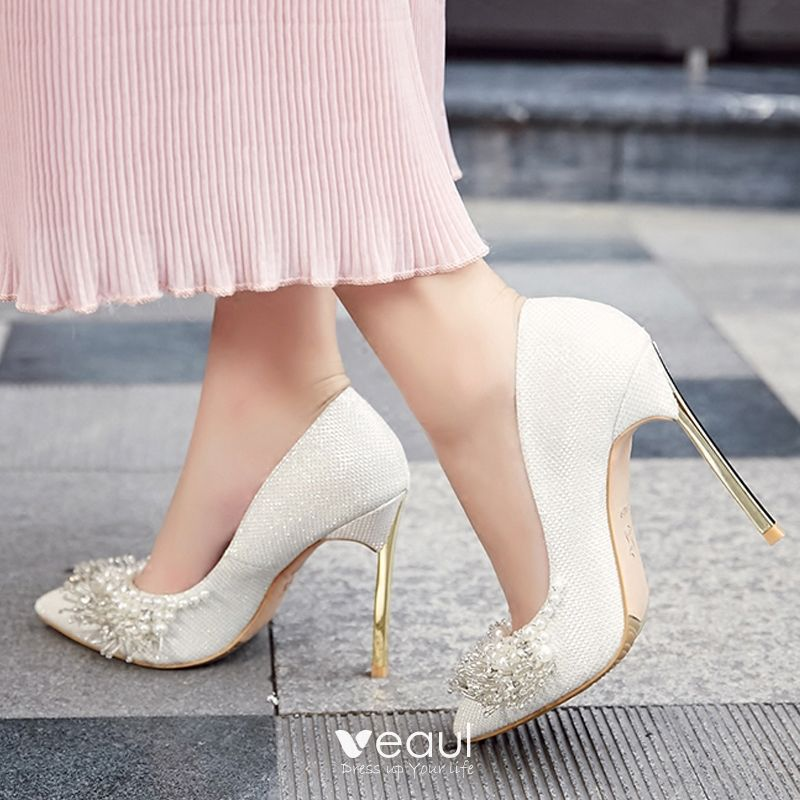 Chic Beautiful White 2018 10 cm High Heels Prom Beading Pearl Rhinestone Stiletto Heels Pointed Toe Evening Party Wedding Wedding Shoes