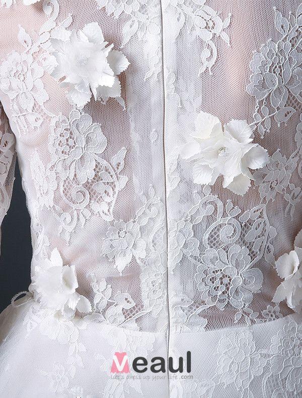 2015 A-ligne Décolleté Carré, Manches 3/4 En Dentelle Et Des Fleurs Robe De Mariée Courte