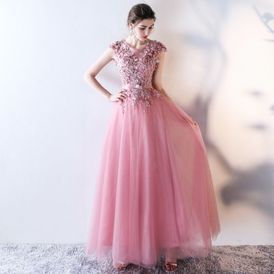 Chic / Beautiful Candy Pink Evening Dresses  2017 A-Line / Princess Scoop Neck Sleeveless Appliques Flower Pearl Rhinestone Sequins Bow Sash Floor-Length / Long Ruffle Backless Formal Dresses