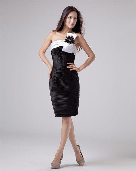 Falbany Tiul Rekawow Tafty Linke Jedno Ramie Krótkie Tanie Sukienki Koktajlowe