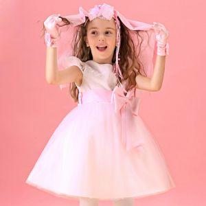 Ärmellose Blumenmädchen-kleid Rosa Prinzessin Kleid Kommunionkleider