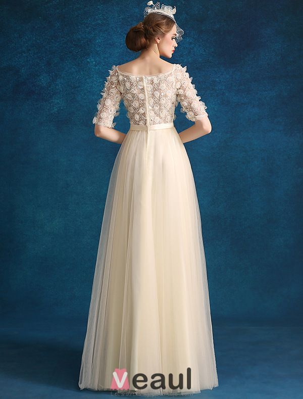 Princess Evening Dresses 2016 Applique Champagne Tulle Long Prom Dresses With 1/2 Sleeves