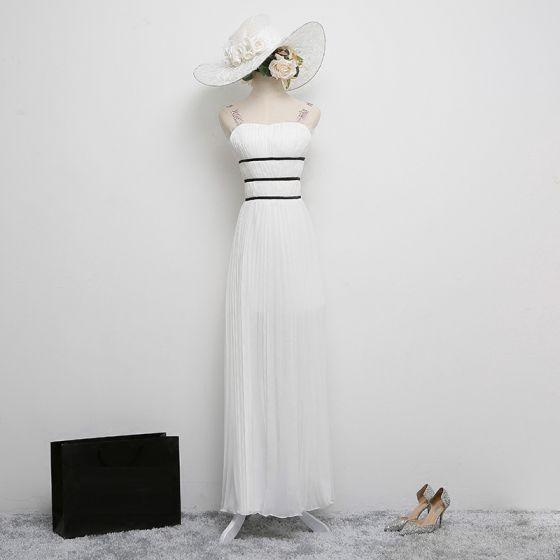 Classic Elegant White Evening Dresses  2017 A-Line / Princess Chiffon Backless Sequins Striped Evening Party Formal Dresses