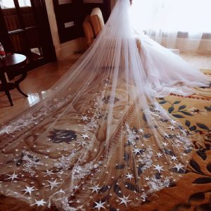 Amazing / Unique White Wedding Veils 2017 Tulle 5m Star Appliques Wedding