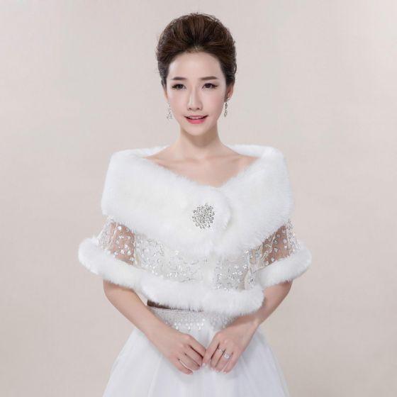 Białe Zima Z Koronki Cekiny Sztuczne Futro Ślub Bal Szale 2017