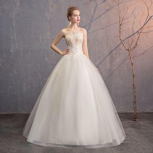 Erschwinglich Ivory / Creme Brautkleider / Hochzeitskleider 2019 Ballkleid Bandeau Spitze Blumen Ärmellos Rückenfreies Lange