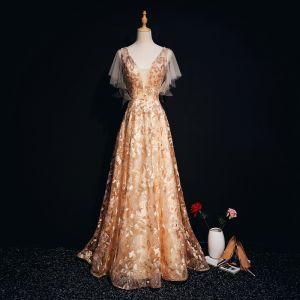 Luxe Doré Robe De Soirée 2018 Princesse Dentelle Perlage Cristal Perle V-Cou Dos Nu Manches Courtes Train De Balayage Robe De Ceremonie