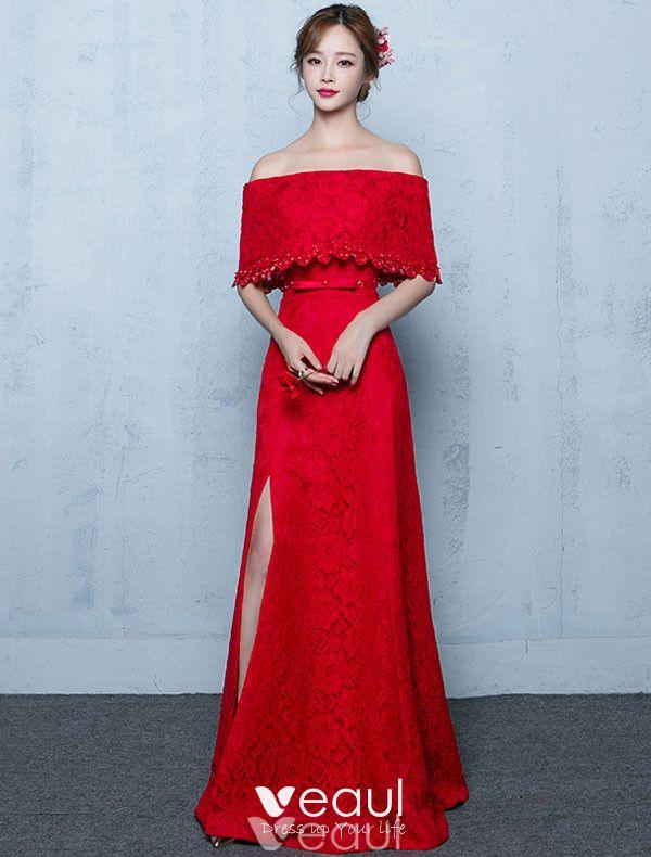 Elegant Long Evening Dress Burgundy Lace Off The Shoulder Formal Dress With Half Sleeves