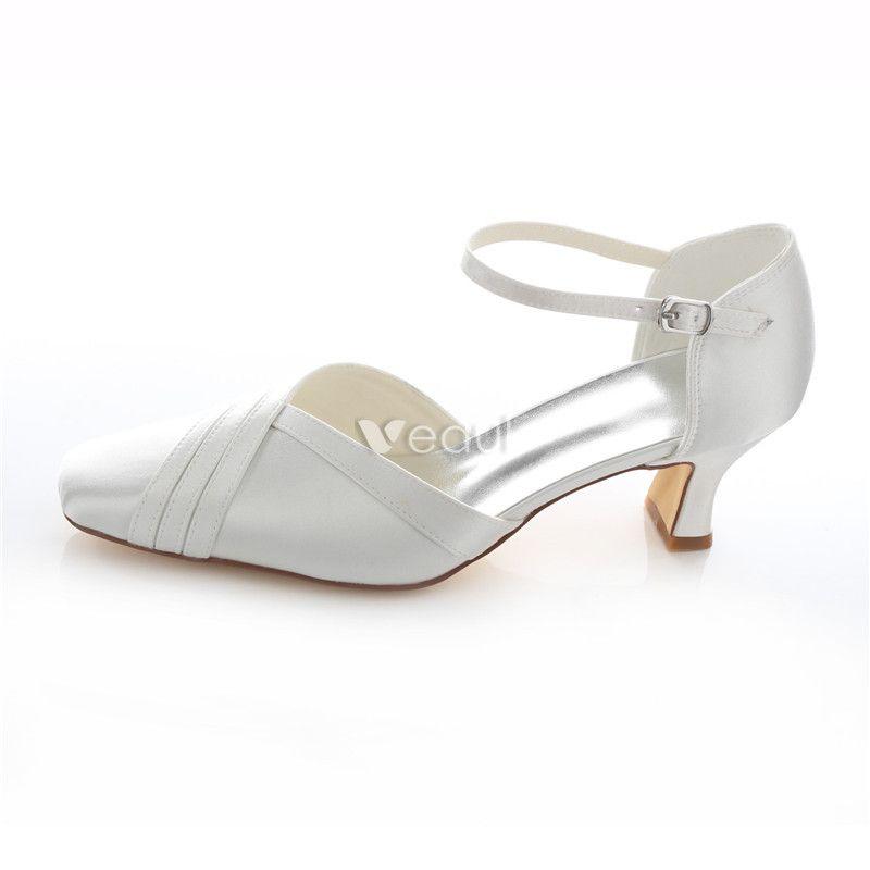Beautiful White Satin Bridal Shoes 2 Inch Stiletto Heel Pumps