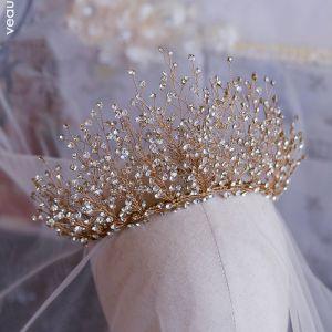 Luxus / Herrlich Gold Haarschmuck Braut  2019 Metall Strass Diadem Hochzeit Brautaccessoires
