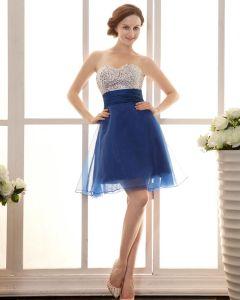 Yarn Pleated Beading Sweetheart Thigh Length Graduation Dresses