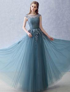 Elegant Trägerlosen Abendkleid 2016 A-line-spitze U-ausschnitt Rüschen Tüll Langes Kleid